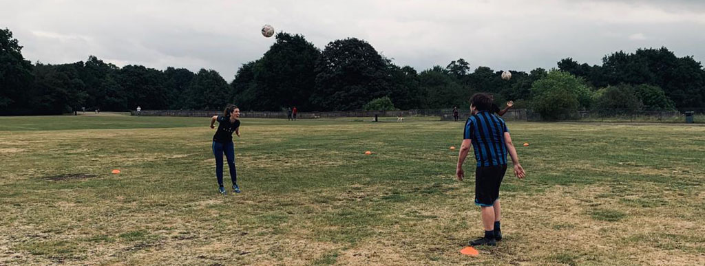 Practice with ball during Footy Addicts training sessions